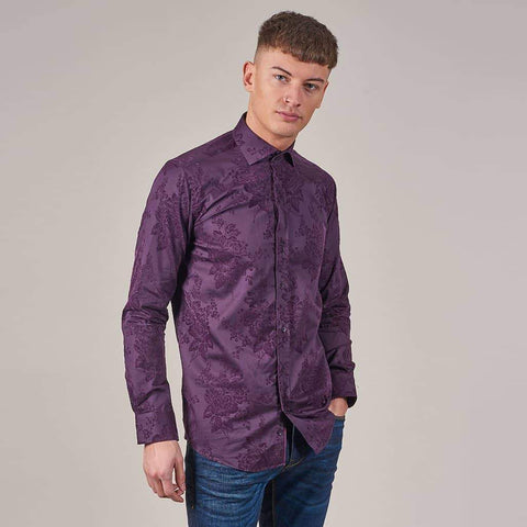 Guide London Plum Flocked Flower Print Cotton Sateen Shirt S / Plum