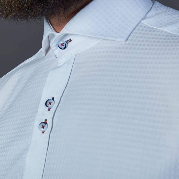 Guide London Pure Cotton White Shirt with Subtle Geometric Square Design