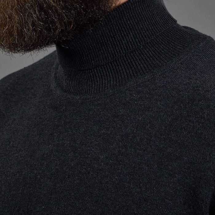 Guide London Roll Neck Cotton Sweater - Charcoal