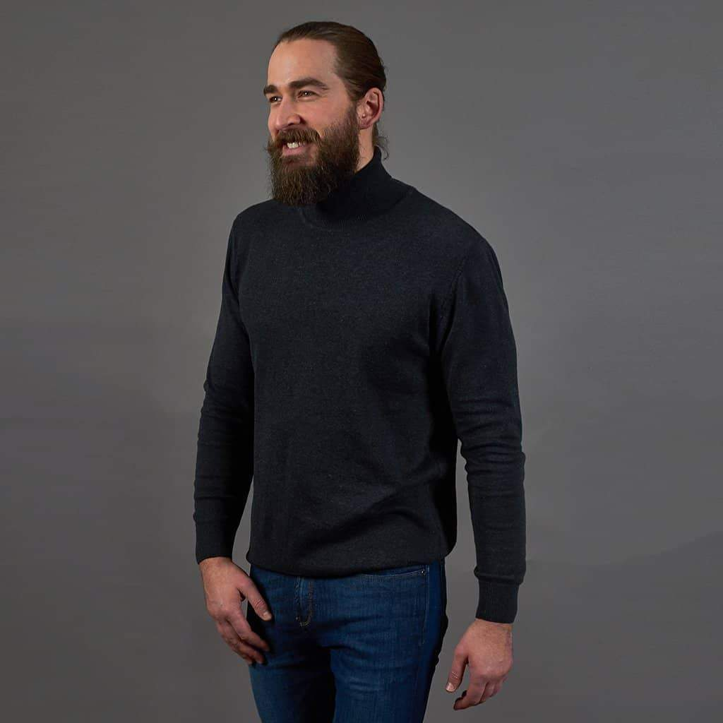 Guide London Roll Neck Cotton Sweater - Charcoal S - 36