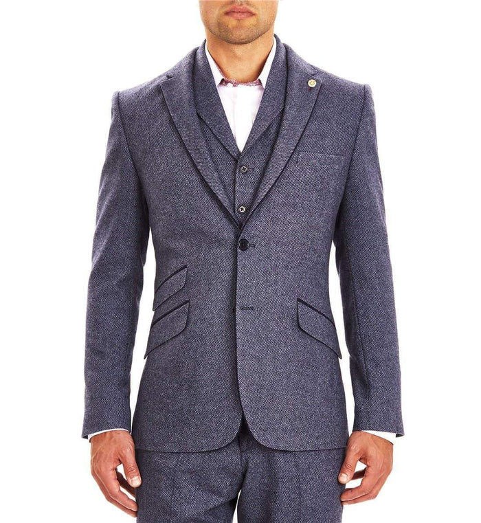 Guide London Guide London Single Breasted Wool Blend Blazer - Blue £58.50