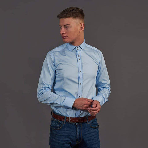 Guide London Sky Blue Cotton Shirt With Branch Detail S / Sky Blue