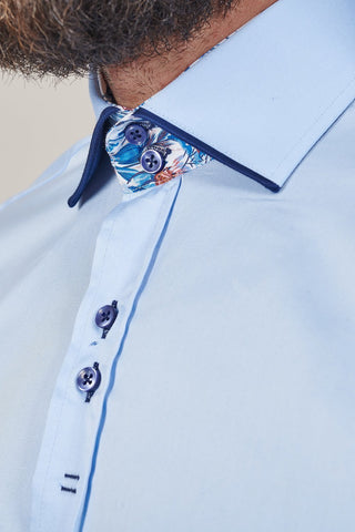 Guide London Sky Blue Cotton Shirt With Contrast Burgundy Collar