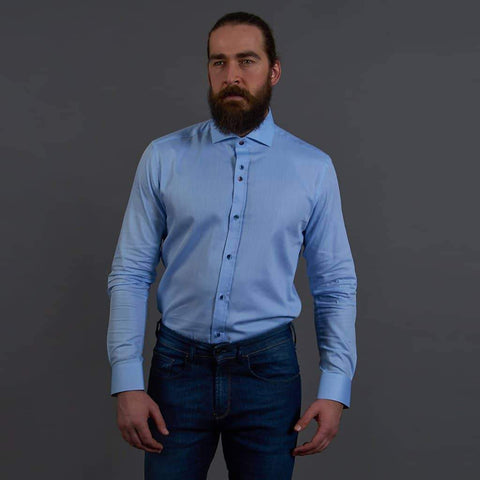 Guide London Sky Blue Smart Fine Cotton Shirt S / Blue