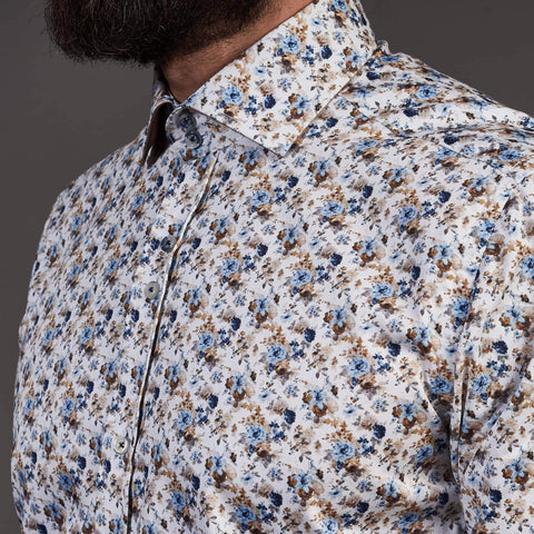 Guide London Sky Cotton Sateen Shirt With Floral Print S / Sky Blue