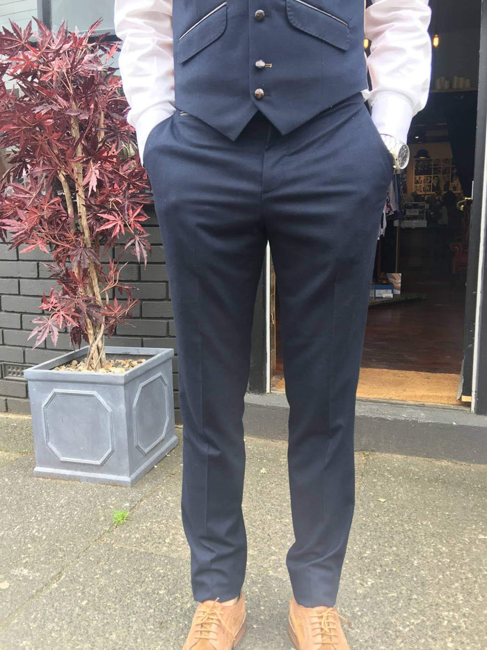 Guide London Soft Touch Suit Trousers - Navy