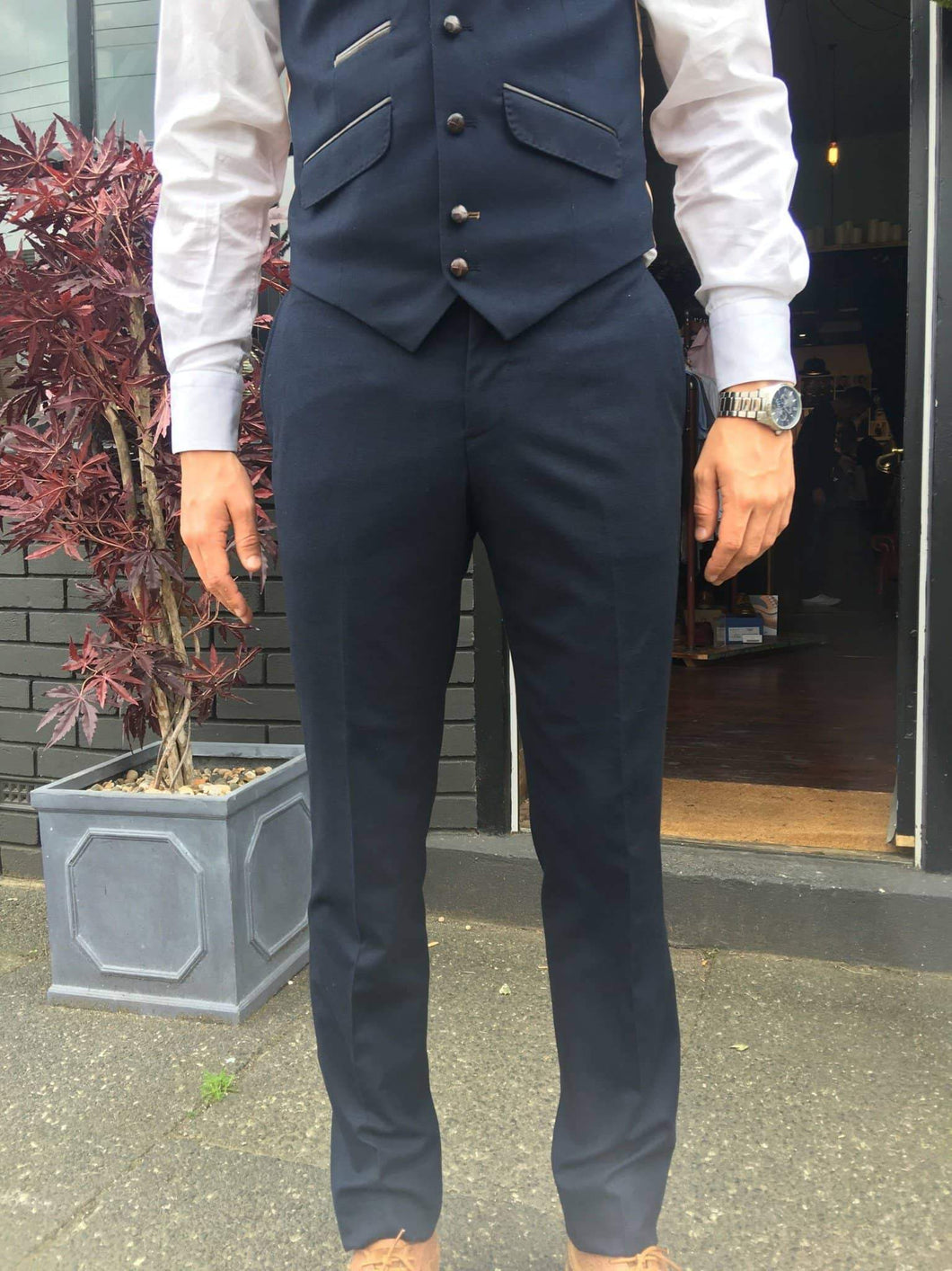 Guide London Soft Touch Suit Trousers - Navy 30R / Navy