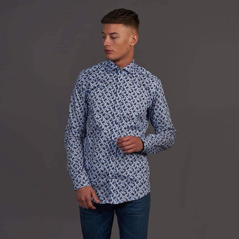 Guide London White Check Shirt With Rose Print S / Sky Blue