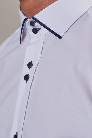 Guide London White Cotton Blend Shirt With Contrast Navy Collar S