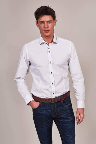 Guide London White Cotton Blend Shirt With Contrast Tan Collar S / White