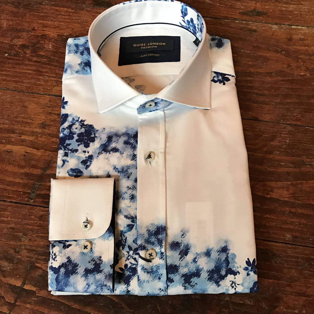 Guide London White Cotton Sateen Floating Print Shirt S