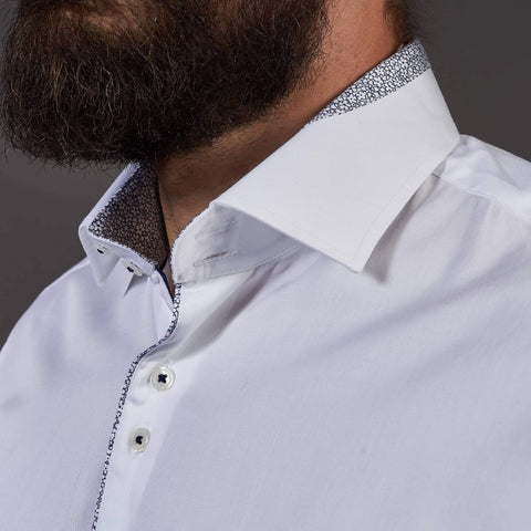 Guide London White Cotton Sateen Shirt With Contrast Details S / White