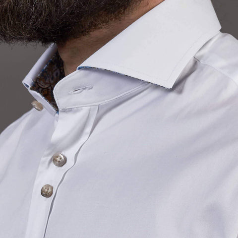 Guide London Guide London White Cotton Sateen Shirt With Paisley Print Details £40.00