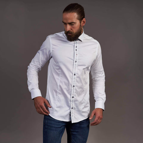 Guide London White Cotton Shirt With Contrast Placket Detail S / White