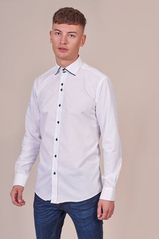 Guide London White Cotton Shirt With Navy Trim Collar
