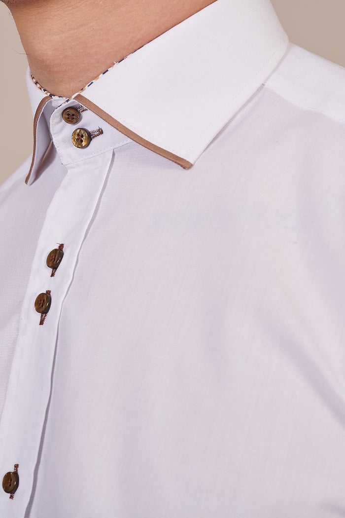 Guide London White Cotton Shirt With Tan Trim Collar