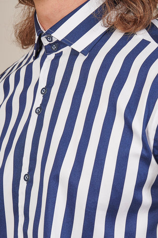 Guide London White & Navy Stripe Shirt