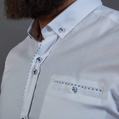 Guide London White Short Sleeve Shirt with Pocket Detail S / White