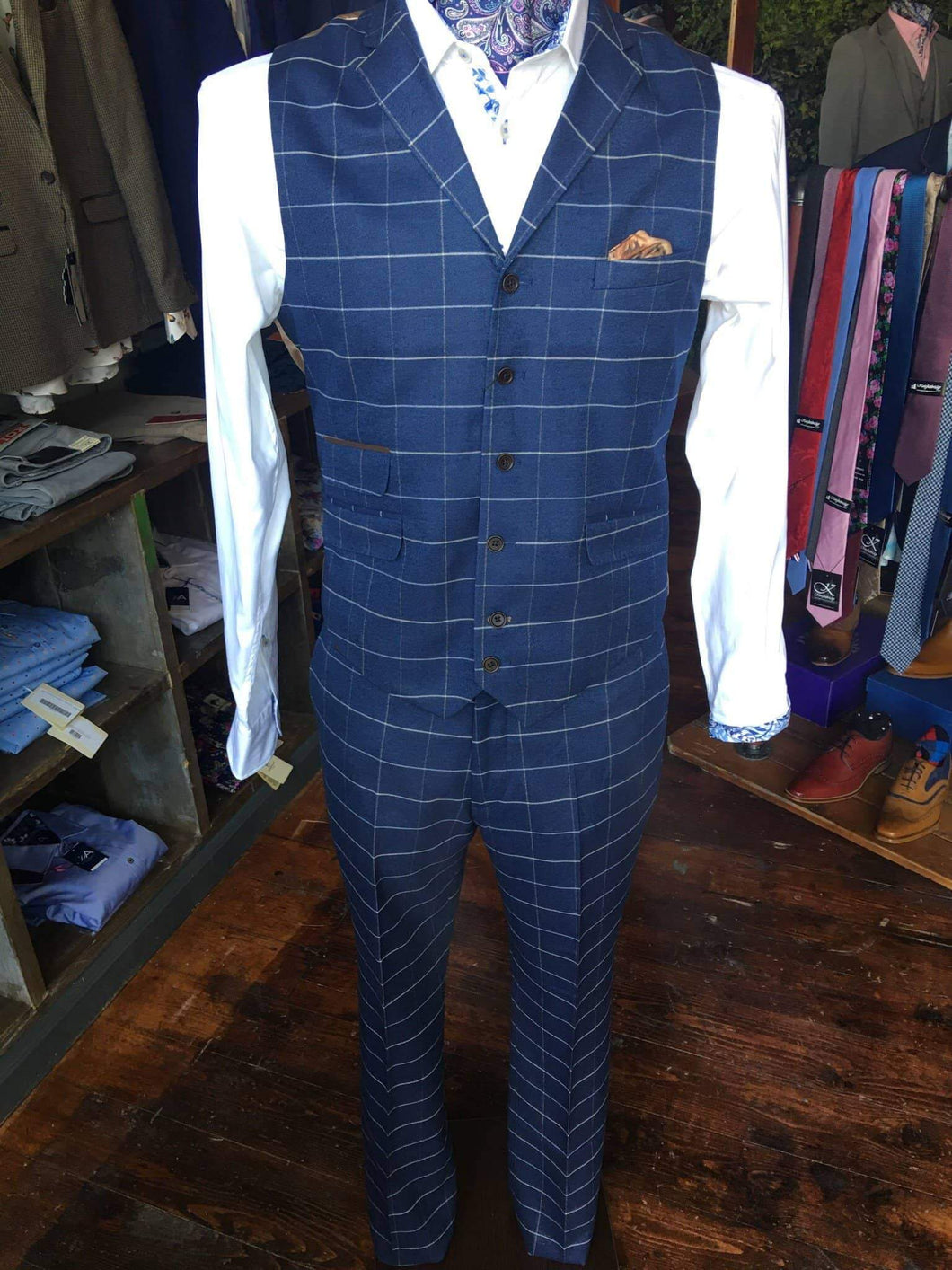Guide London Windowpane Check Suit Waistcoat - Navy 36