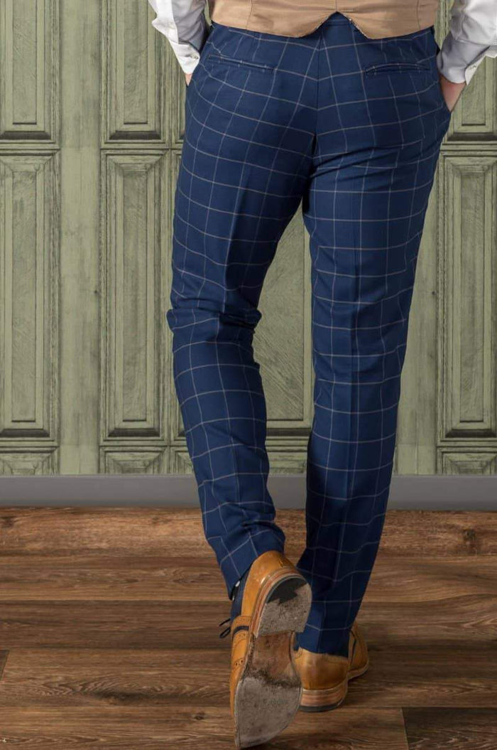Guide London Windowpane Navy Suit Trousers