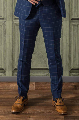 Guide London Windowpane Navy Suit Trousers 30R / Navy