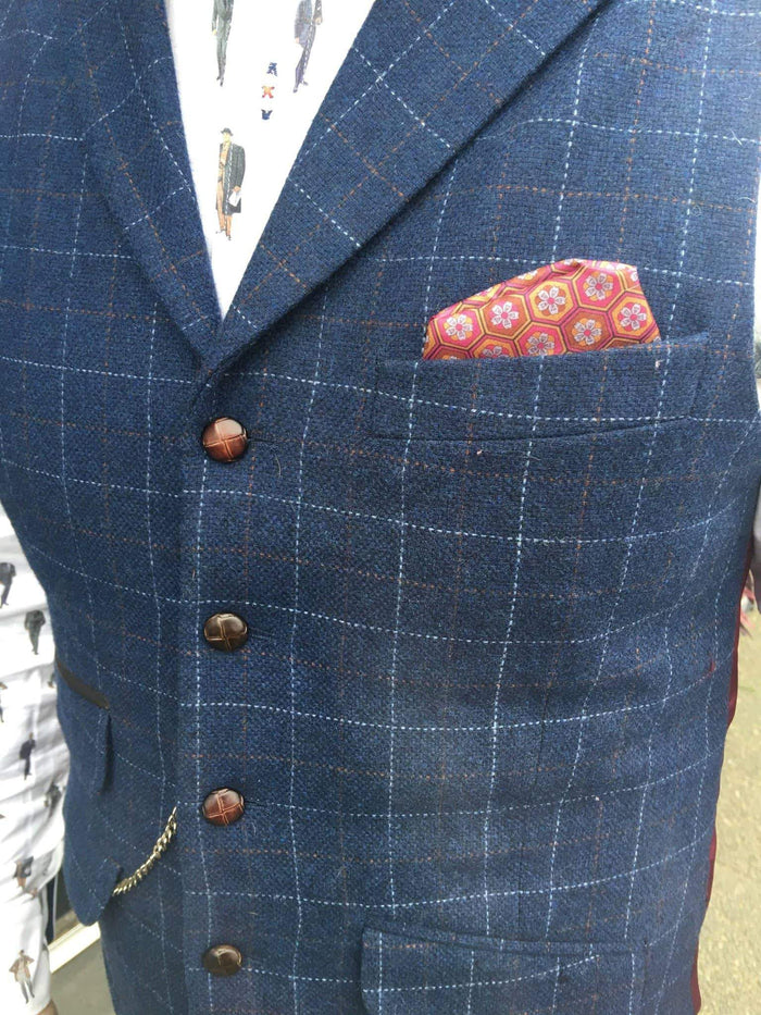Guide London Windowpane Wool Blend Check Suit Waistcoat - Navy