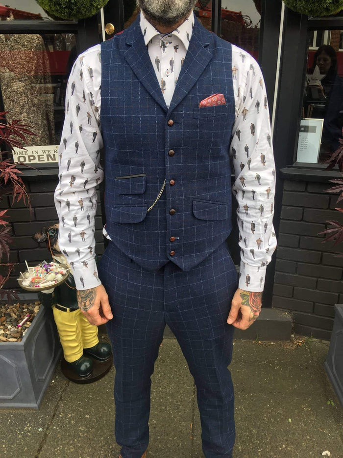 Guide London Windowpane Wool Blend Check Suit Waistcoat - Navy 38