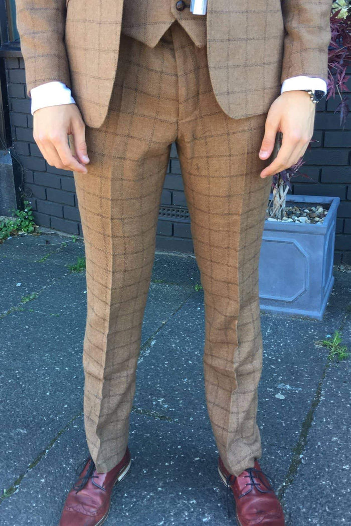 Guide London Wool Blend Check Suit Trousers - Camel 30R