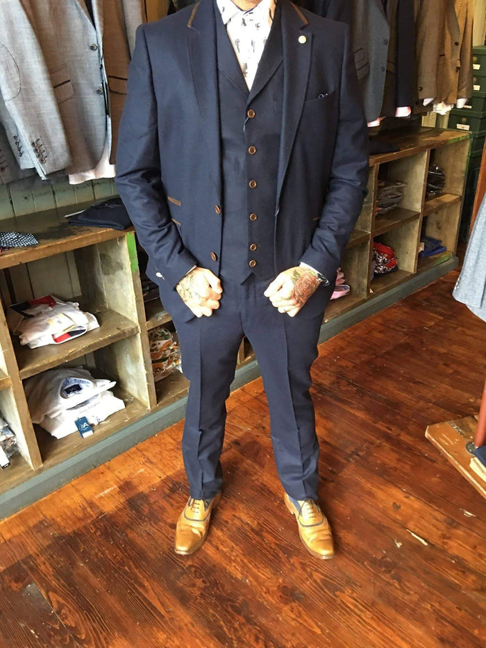Guide London Wool Blend Slim Fit Suit Blazer With Suedette Trim Details - Navy