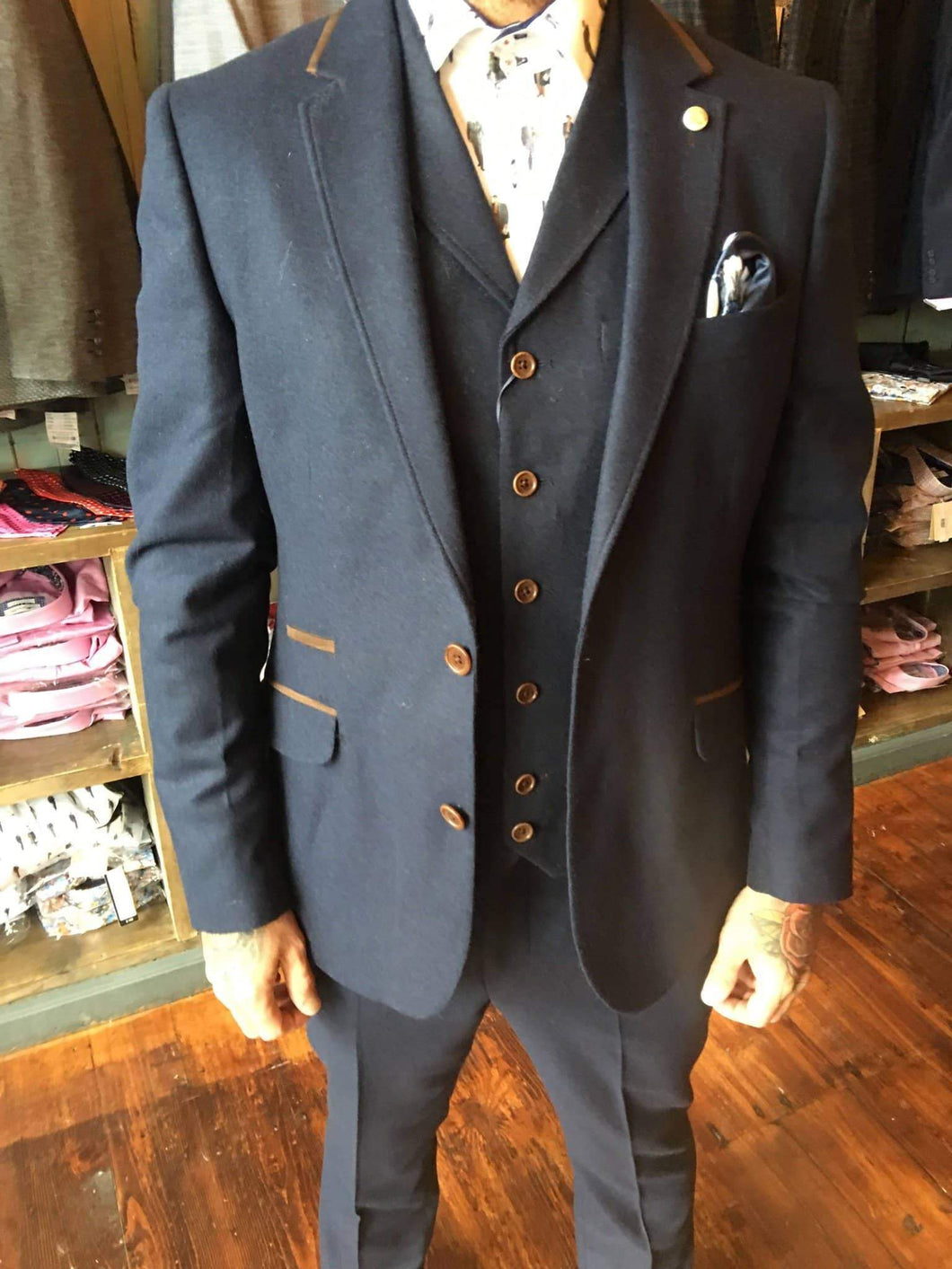 Guide London Wool Blend Slim Fit Suit Blazer With Suedette Trim Details - Navy 38