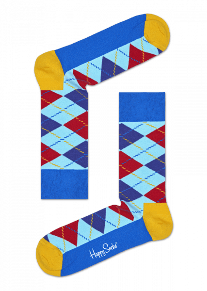 Happy Socks Argyle Socks - Blue, Yellow and Red blue