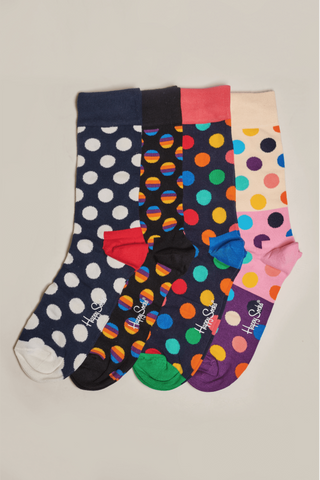 Happy Socks Big Dot 4 Pack Gift Box - Black, Navy and Beige M/L