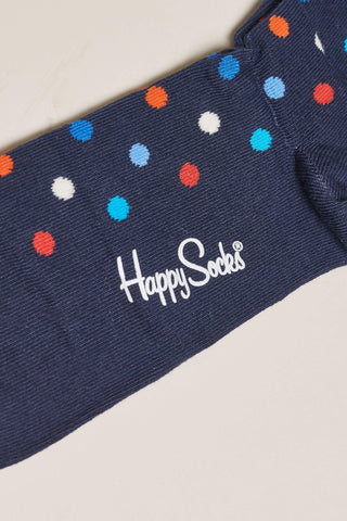 Happy Socks Dot Socks - Navy, Blue and Red M/L