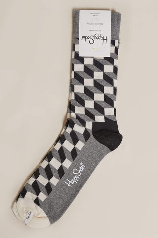 Happy Socks Filled Optic Socks - Black, White and Grey M/L
