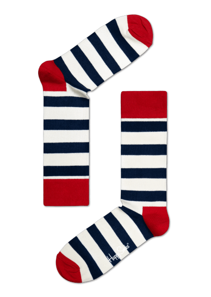Happy Socks Happy Socks White, Navy and Red Stripe Sock £9.95