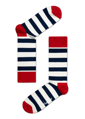 Happy Socks Stripe Sock White, blue and red