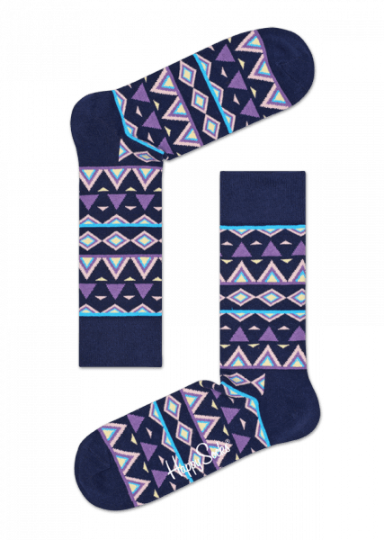 Happy Socks Temple Sock - Blue, Pink, Purple, White Blue, Pink, Purple, White