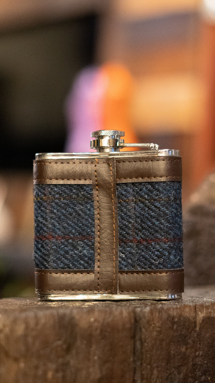Harris Tweed Blue & Red Check Hip Flask