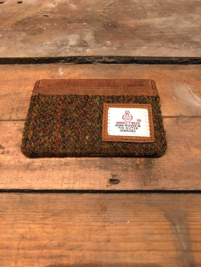 Harris Tweed Green Check Card Holder