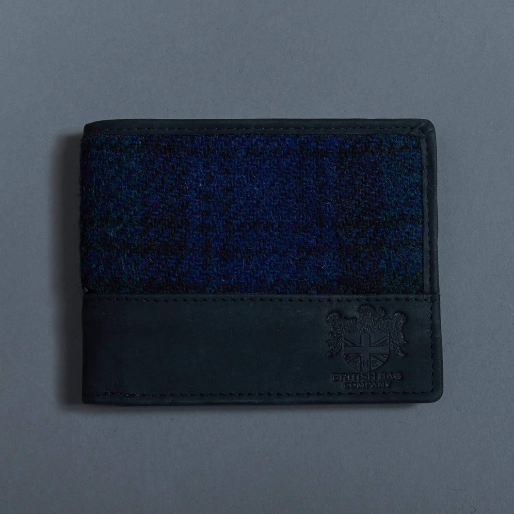 Harris Tweed Navy/Green Check Wallet