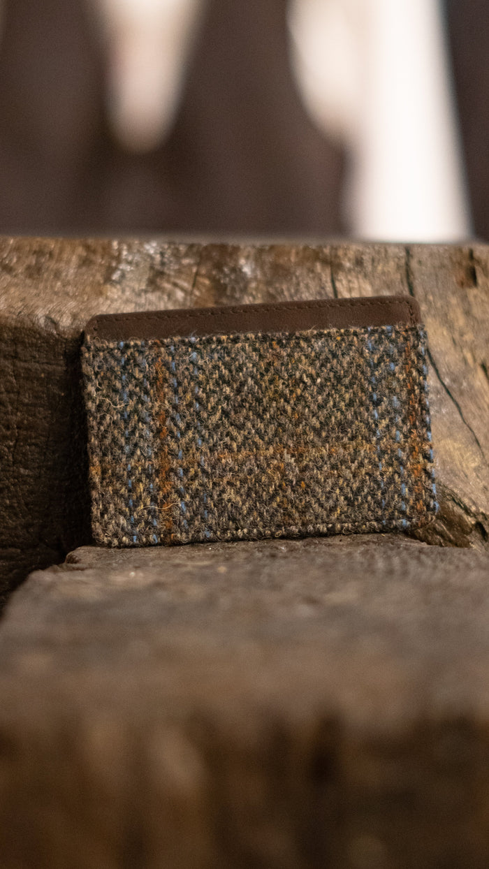 Harris Tweed Tan, Brown & Blue Card Holder Wallet