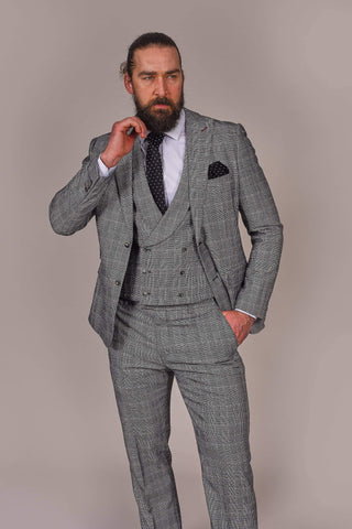 Harry Brown Grey Prince Of Wales Check Suit harry-brown-grey-prince-of-wales-check-blazer / harry-brown-grey-prince-of-wales-check-double-breasted-waistcoat / harry-brown-grey-prince-of-wales-check-trousers-1