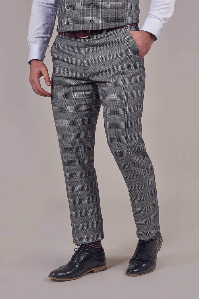 Harry Brown Harry Brown Grey Prince Of Wales Check Trousers £19.60