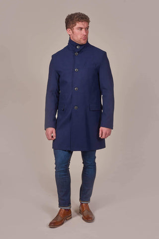 Harry Brown Harry Brown Navy Wool Mix Military Tunnel Neck Coat £60.00
