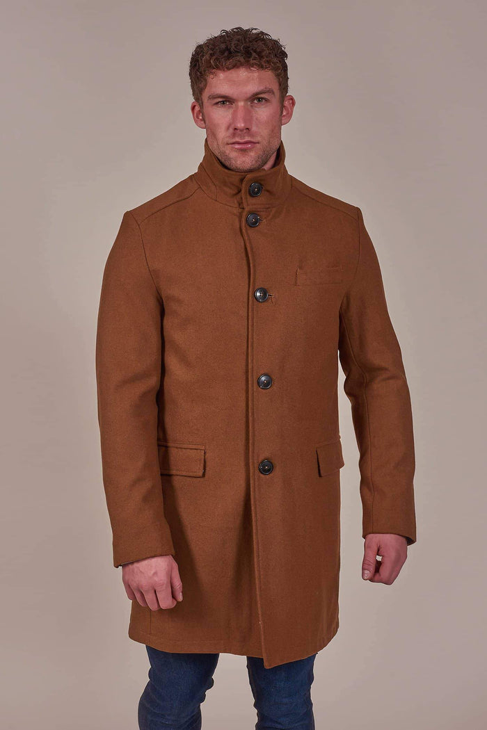 Harry Brown Taupe Wool Mix Military Tunnel Neck Coat