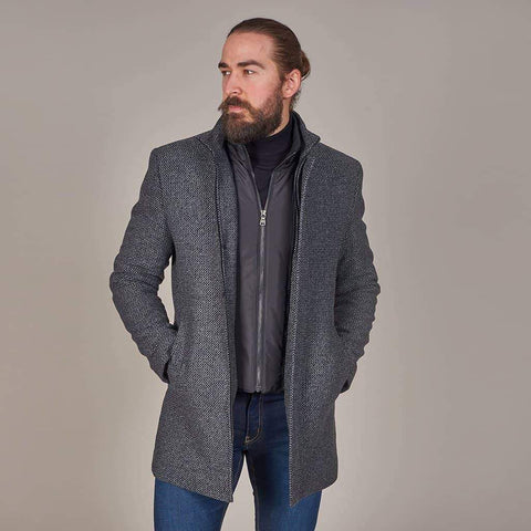 Herbie Frogg Grey Check Wool Coat With Gilet Insert 38 / Grey