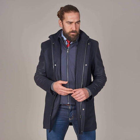 Herbie Frogg Herbie Frogg Navy Check Wool Coat With Gilet Insert £187.50