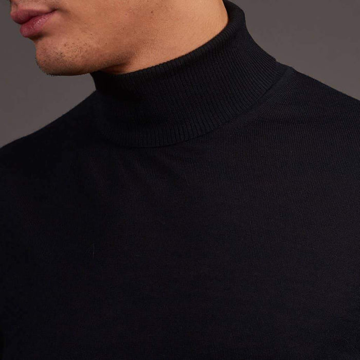 Herbie Frogg Navy Roll Neck Wool Sweater