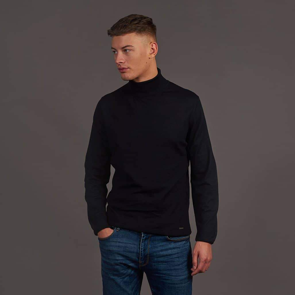 Herbie Frogg Navy Roll Neck Wool Sweater S - 36 / Navy