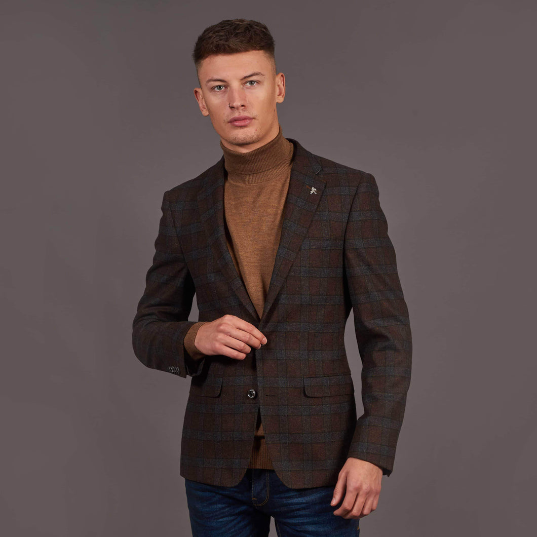 Herbie Frogg Rust And Grey Wool Check Blazer 38R